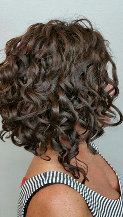 Angled Curly Bob Hairstyles