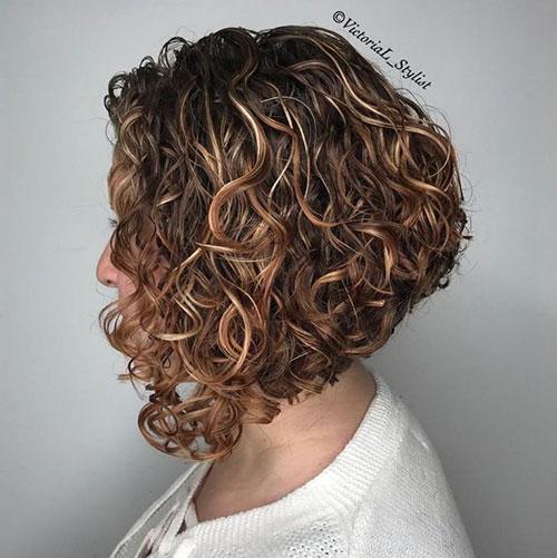 Angled Bob Curly Hair